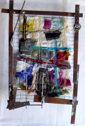 Meltdown1, 25cm x 18cm, embellished & embroidered fibres and steel, 2018