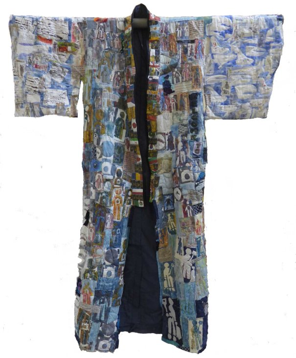 Welcome to Fukushima, front, mixed fabric printed and embellished, 2m x 2m, 2018.