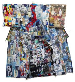 Welcome to Fukushima, back, mixed printed and embellished fabric, 2m x 2m
