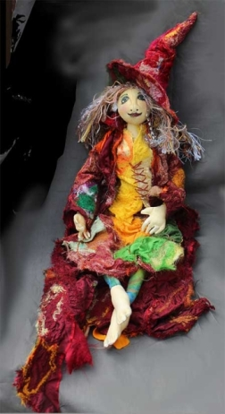 Autumn Witch, 60cm button-joint doll, mixed fibres
