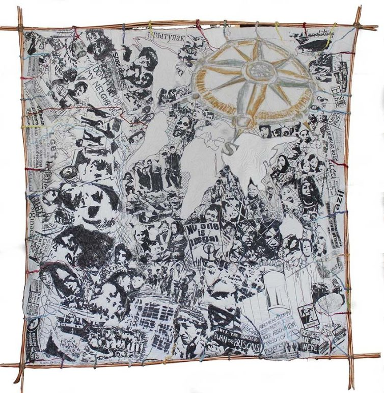 Lifelines, 1m x 1m, Marker pen, stitch, mixed fibres, 2015