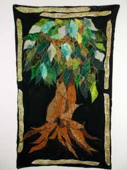 Forever Young Quilt, 1m x 70cm, embellished and embroidered mixed fibres