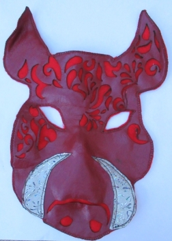 Red Boar Mask, leather & felt