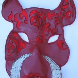 Red Boar Mask, leather & felt