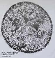 Athena's Shield Collagraph print, 54 x 54 cm, 2019