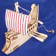 Greek Ship,Self-assembly 3mm plywood toy with working winch/anchor. Approx 20cm long