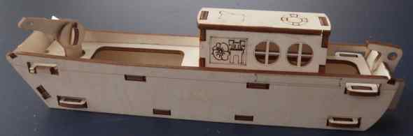 Narrowboat, self-assembly plywood toy with working winch. Approx 210mm